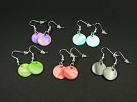 Boucles d'oreilles sequins de nacre couleurs variées