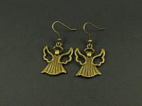 Boucles d'oreilles fantaisie personnages anges couleur bronze