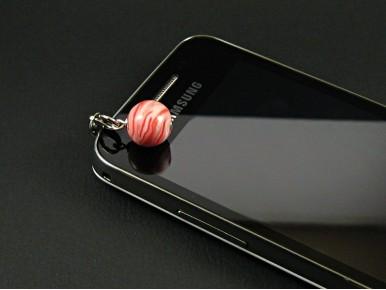 Breloque perle ronde en Fimo rouge et nacre