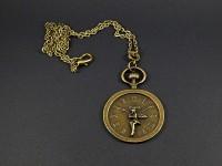 Collier fantaisie fausse montre gousset décoré fée clochette