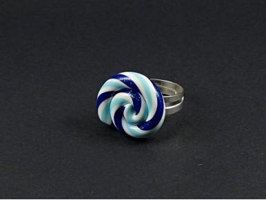 Bague fantaisie artisanale lollipop bleue