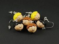 Boucles d'oreilles fantaisie perles artisanales têtes deux humeurs
