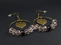Boucles d'oreilles fantaisie anneaux et perles de verre facettées