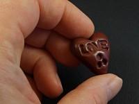 Magnet artisanal coeur chocolat LOVE