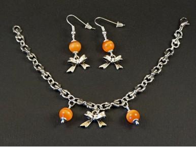 Ensemble boucles d'oreilles et bracelet fantaisie perles et noeuds