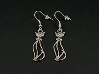 Boucles d'oreilles fantaisie chat stylisé en métal argenté