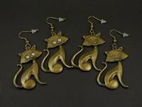 Boucles d'oreilles fantaisie XXL chat assis couleur bronze