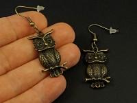 Boucles d'oreilles fantaisie chouette bronze sur branche