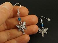 Boucles d'oreilles fantaisie fée et perles bleues