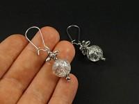 Boucles d'oreilles fantaisie perle translucide craquelée