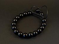 Bracelet fantaisie perle de verre noires opaques