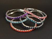 Bracelet fantaisie élastique strassé couleurs variées