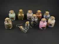 Boucles d'oreilles fantaisie fioles à remplir de pierres naturelles au choix