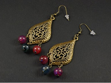 Boucles d'oreilles exceptionnelles mélange de métal et de perles tourmalines