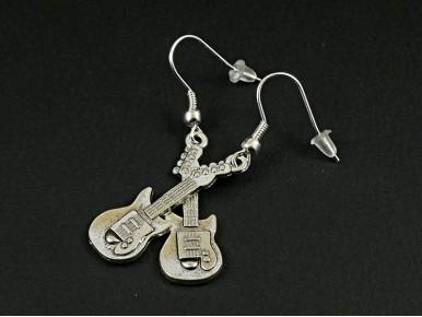 Boucles d'oreilles fantaisie guitares électriques en métal argenté