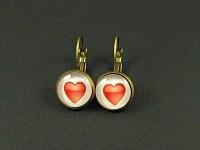 Boucles d'oreilles couleur bronze cabochon décor coeur