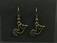 Boucles d'oreilles fantaisie colombe de la paix couleur bronze