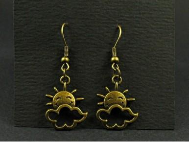 Boucles d'oreilles fantaisie couleur bronze soleil et nuage