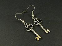 Boucles d'oreilles fantaisie clefs argentées