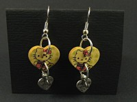 Boucles d'oreilles coeurs Hello kitty