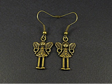Boucles d'oreilles fantaisie fées couleur bronze