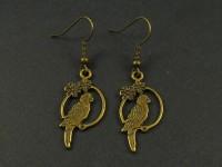 Boucles d'oreilles oiseaux sur perchoirs