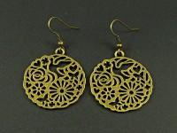 Boucle d'oreille fantaisie couleur bronze disque à motifs