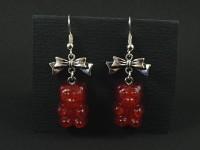 Boucles d'oreilles artisanales oursons rouges imitation bonbon