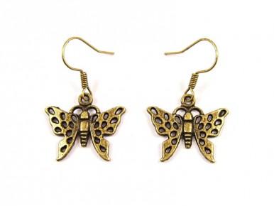 Boucles d'oreilles fantaisie papillon bronze