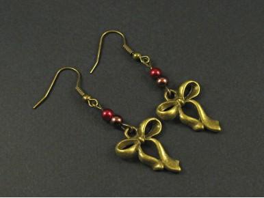Boucles d'oreilles fantaisie bronze perles et noeud