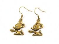 Boucles d'oreilles fantaisie souris bronze