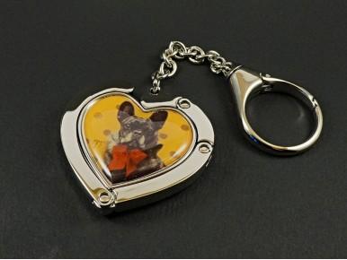 Bijou de sac et accroche sac en forme de coeur décor chien
