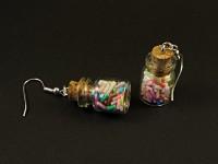 Boucles d'oreilles fantaisie bocaux en verre remplis de bonbons vermicelles