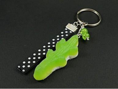 Porte-clé gourmand représentant un bonbon gélifié crocodile vert