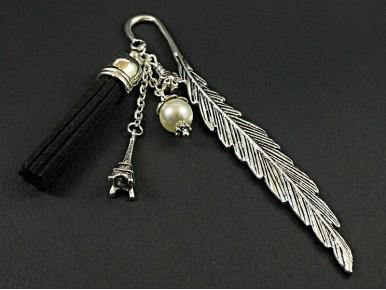 Marque-page métallique plume et perles