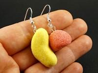 Boucles d'oreilles faux bonbons fraise et banane
