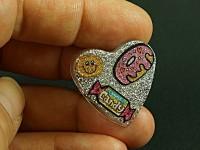 Bague résine en forme de coeur, paillettes et stickers gourmands