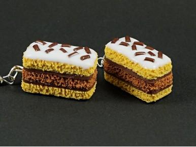 Boucles d'oreilles artisanales imitation gâteau napolitain