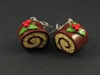 Boucles d'oreilles gourmandes façon bûche de Noël