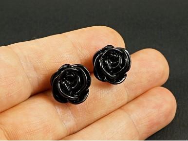 Boucles d'oreilles puces fleurs noires