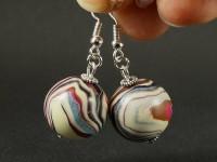 Boucles d'oreilles perles artisanales rayées