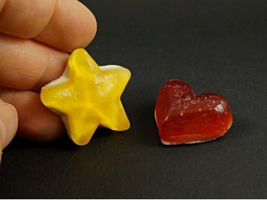 Magnet en résine bonbon gélifié forme coeur ou étoile