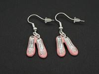 Boucles d'oreilles métalliques ballerines roses