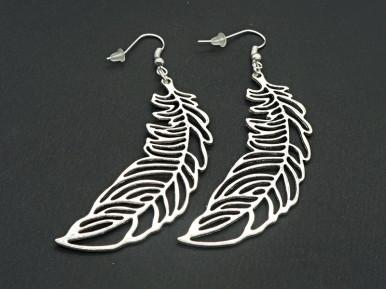 Boucles d'oreilles XL légères plumes en métal argenté