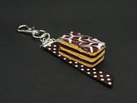 Bijou de sac grigri millefeuille chocolat en pâte polymère