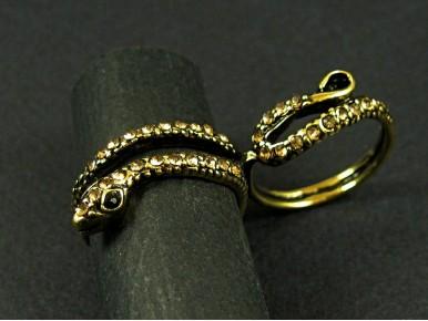 Bague serpent  strassé double anneau