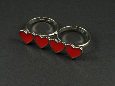 Bague fantaisie double anneau 4 coeurs rouges