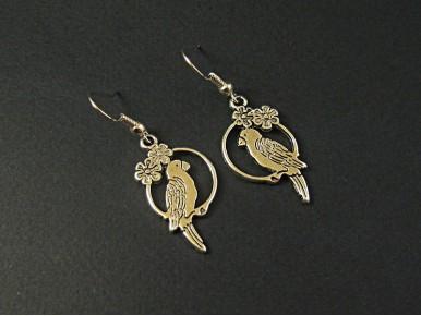Boucles d'oreilles oiseaux sur perchoirs argentés