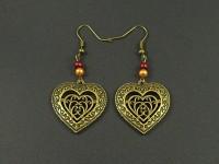 Boucles d'oreille coeur filigrané perlé