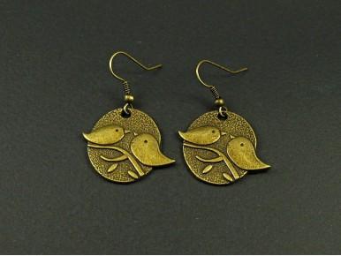 Boucles d'oreilles fantaisie finition bronze couple d'oiseaux